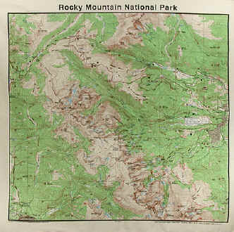 Topographic Map Rocky Mountains.Natural History Themes On Cotton Bandannas