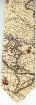 World Map Tie.New World Western Hemisphere Map Neckties Cartography North And
