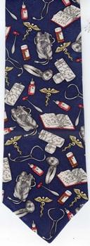 Doctors Ties Medical Necktie Stethoscope Black Mens Necktie