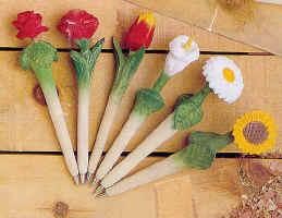 افكار لتزيين الاقلام بالورود Flower_Pens
