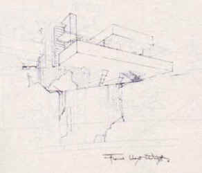 Falling Water Architectural Sketches Drawings Kaufmann House Frank Lloyd Wright Architect Architecture Prairie School T